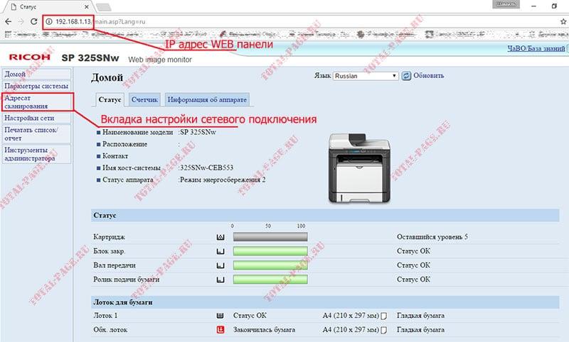 Как настроить сетевое сканирование на МФУ Ricoh SP 325SNw