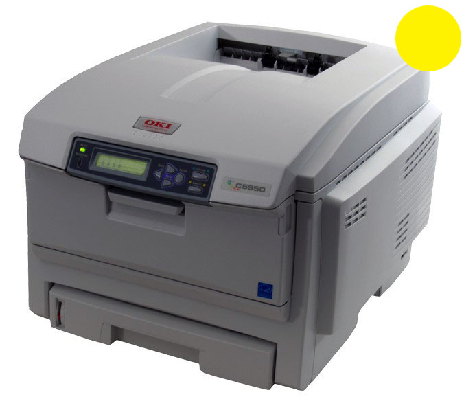 Заправка желтого  картриджа для OKI C5850 / C5950 / MC560 с заменой чипа