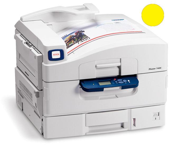Заправка желтого картриджа  Xerox Phaser 7400 с заменой чипа