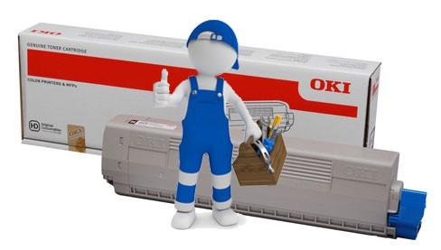 Заправка синего картриджа для OKI C822 с заменой чипа