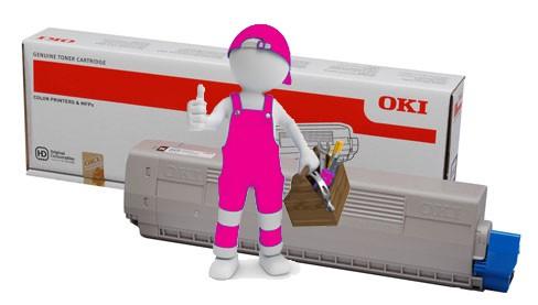 Заправка красного картриджа для OKI C822 с заменой чипа