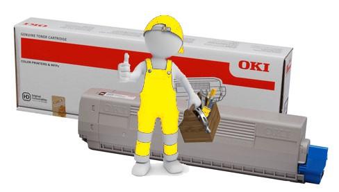 Заправка желтого картриджа  OKI MC861 / MC851 с заменой чипа